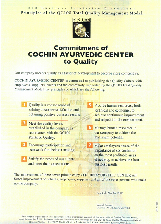 Commtment of Cochin ayurvedic Center to Quality